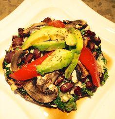 Portabella mushroom, shallots, garlic, spinach, beans, tomato, and avocado.