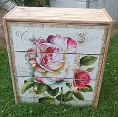 Sugar Coated Floral Rose 3 Drawer Chest Nightstand Gorgeous Great Gift Stunning Addition To Your Home Burnt Wood Look Solid Pine