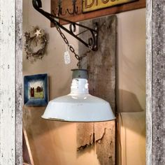 New upcycled light on barn wood by Chuck Forbes. $195