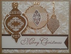 handmade Christmase card ... Ornament Keepsakes ... white and gold ... luv the subtle use of gold glitter paper to mat the three ornaments ... Stampin' Up!