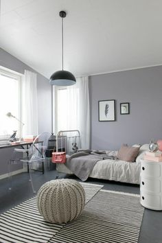 Warm Girl Room with Grey and Delicate Pink