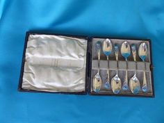 Bernard Instone boxed silver spoons with stones - Marlin Antiques