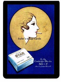 SE20 SINGLE swap playing cards CIGARETTE SMOKING ADVERT art deco lady blue/gold
