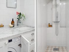 Badrumsinspiration: Badrum i klassisk stil med dold tvättmaskin Laundry Room Bathroom, Bathrooms, Stacked Washer Dryer, Washing Machine, Bathtub, Home Appliances, Interior, Mermaid, Decoration