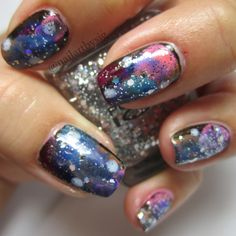Go to the moon in this galaxy manicure. Galaxy nails.
