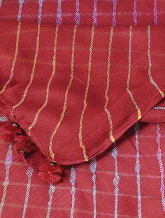 0f76247706 Buy Red-Ivory Leheriya Kota Doria Dupatta with Tassels Online at Jaypore.com