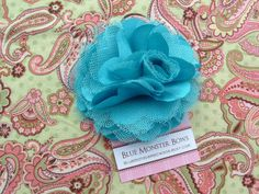 Megan Turquoise Satin and Tulle Flower Hair Clip