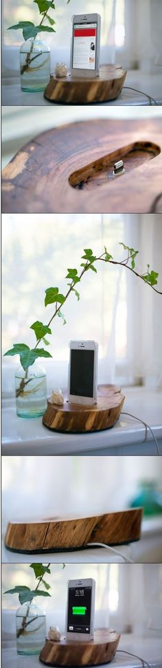 Turn a block of wood into a pretty phone holder & charger! #DIY