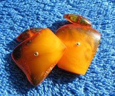 Natural Baltic Amber 8 gr yellow cufflinks Jewelry 琥珀 gemstone USSR Butterscotch #HandMade