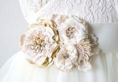 Floral Ribbon Sash - Vintage White and Cream Blossoms