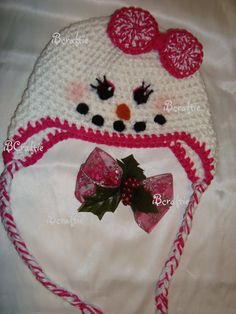 SnowGirl Crochet  Hat by iBcraftieCrochet on Etsy, 25.00