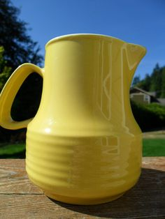 Vintage 1960s Yellow Art Deco Mid Century Creamer by KathiJanes, $7.95