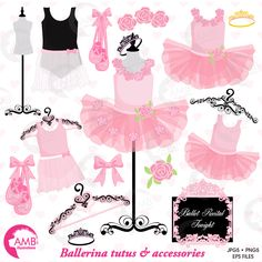 Ballerina tutus for Ballet class! These beautiful Ballerina cliparts are the perfect images those invites or as addons for a ballet for the recital scrapbook page! Crisp hi-resolution images of little ballerinas tutus in pink and in black… perfect for all your invitations, cards or parties! Great for girl birthday parties, scrapbooking, girls bedrooms and more.