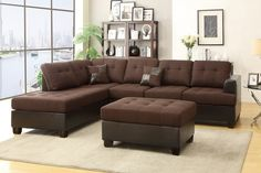 """3 pc Madison collection 2 tone Chocolate linen like fabric and faux leather sectional sofa with reversible chaise and ottoman. This set includes the 2 pc reversible chaise sectional sofa with throw pillows and Free ottoman. This sectional is upholstered in a linen like fabric on the cushions and back and faux leather on the body and arms. Sectional measures 112"""" across the back, Chaise comes out 84"""" and each piece is 34"""" Deep. Ottoman measures 38"""" x 26"""" x 19"""" H. This set is KD , Ready to..."""