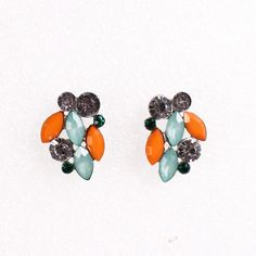 3x2cm Chic Resin and Crystal Earring Studs Women Ladies Jewelry Earrings