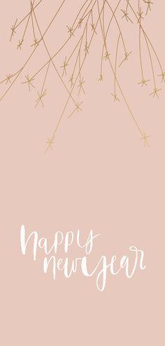 """Een hippe nieuwjaarskaart met een handlettering tekst """"Happy new year"""", verkrijgbaar bij #kaartje2go voor € 2,20"""