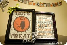 Handmade Halloween :)  OMG googlie eyes on a frame.  I've got JUST the halloween pics for this.