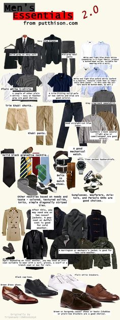 Men's clothing essentials. Most of these items would be suitable for the workplace.
