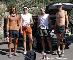 Tony Krupicka, Hal Koerner, Karl Meltzer & Scott Jurek gather before heading out for a day on the trails.  I'm overwhelmed by the greatness in this picture.  WOW