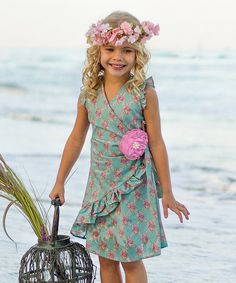 This Pink & Green Ruffle Wrap Dress - Toddler & Girls by Mia Belle Baby is perfect! #zulilyfinds