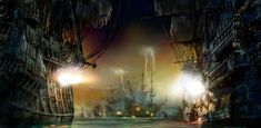 See Shanghai Disneyland Pirates of the Caribbean: Battle for the Sunken Treasure ride in these first look photos from the new theme park. Shanghai Disney Resort, Walt Disney Imagineering, Grand Parc, Disney Concept Art, Disney Theme, Disney Fun, Disney Magic, 6 Photos, Pirates Of The Caribbean