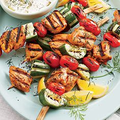 Grilled Salmon Kabobs | MyRecipes.com is a great and tasty way to increase your Omega 3s. #HealthyEating #TotalWellness