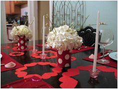 Dining Room, Beauteous Dining Table Valentine's Day Decorations With Candles And Paper Heart Ornaments White Flowers Centrepiece And Red Place Mate For Valentine Dinner Party: Interesting Romantic Moment At Dining Tables for Excellent Valentine Day