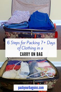 6 Steps for Packing Days of Clothing in a Carry On Bag packing 7 days 6 Steps for Packing Days of Clothing in a Carry On Bag Summer Packing Lists, Beach Vacation Packing List, Carry On Packing, Packing For A Cruise, Packing List For Travel, Packing Tips, Packing Checklist, Packing Cubes, Vacation Travel