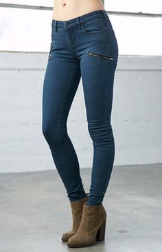 Moody Blue Moto Low Rise Skinny Jeans $54.95
