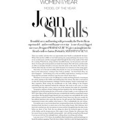"""Joan Smalls as the """"Model of the year"""" for Harper's Bazaar UK December... ❤ liked on Polyvore featuring text, backgrounds, scritte, words, magazine, phrase, quotes and saying"""