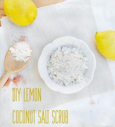 diy- lemon coconut salt scrub recipe - sunny vegan