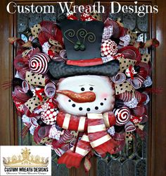 Whimsical Red and White Snowman Wreath by lilmaddydesigns on Etsy