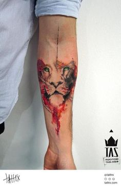 Lion head tattoo with realism, abstract and geometric details in Trash Polka style