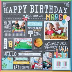 Happy Birthday **Pebbles DT** - American Crafts - Pebbles - Birthday Wishes Collection - 12 x 12 Double Sided Paper - Party Day Birthday Scrapbook Layouts, Scrapbook Page Layouts, Scrapbook Cards, Kids Scrapbook, Birthday Wishes, Happy Birthday, 16th Birthday, Birthday Cards, Scrapbooking Digital
