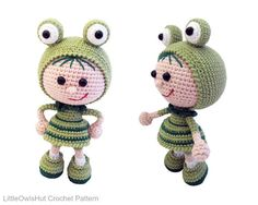118 Crochet Pattern  Girl doll in a frog outfit  Amigurumi