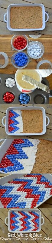 Red, White & Blue Chevron Cookie Cake | 4th of July or Memorial Day