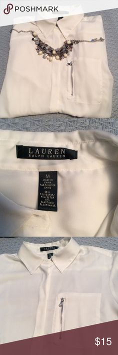 Off-white blouse Beautiful Lauren blouse. Worn once. Decorative zipper pocket over left side. Buttons down the middle covered for even more distinctive look. Lauren Ralph Lauren Tops Blouses
