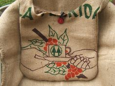 Purses made of old coffee bean sacks.  Just bought one of these at a local market from this lady....LOVE IT SO MUCH.