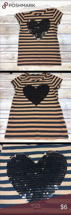 💜size M Joe Fresh Tee Size M Joe Fresh shirt with cute heart made out of sequins.  Euc. Joe Fresh Shirts & Tops Tees - Short Sleeve
