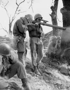 Man of 9th Infantry US 2nd Infantry Division firing a M18A1 recoilless gun Korea 5 September 1951.