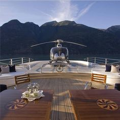 Private yacht with a helipad.