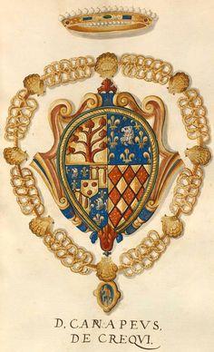Créquy, sgr de Canaples (Jean VIII de Créquy (1505-1555) ou Antoine de Créquy-Canaples (1531-1574) [D. Canapeus, de Crequi] -- «Insignia equitum Gallici ordinis Sancti Michaelis», [S.l.] Italien, Mitte 16. Jh. [BSB Cod.icon. 280 (Insigna pontificum Romanorum et cardinalium XV)]