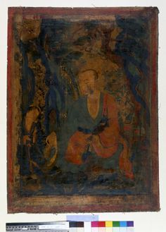 Painting. Religious. The arhat Bakula. Painted on textile.  JC French - loot ??