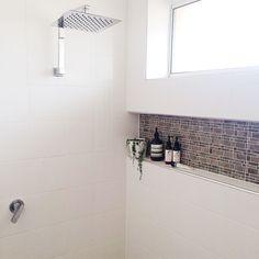 Wall niche feature tiles, window in shower. Bathroom Niche, Shower Niche, Downstairs Bathroom, Bathroom Renos, Laundry In Bathroom, Bathroom Renovations, Bathroom Interior, Small Bathroom, Bathroom Layout