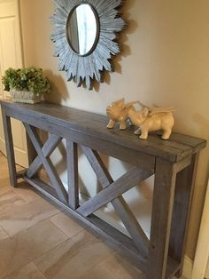 rustic x hall table, painted furniture