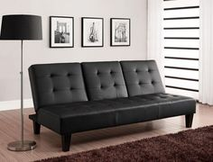 Modern Futon Contemporary Sofa Faux Leather DHP Julia Convertible with Drink Hol #DHP