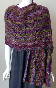 Love the colors. Easy pattern, no shaping-the yarn makes the shawl.