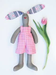 Easter bunny doll stuffed bunny gray and pink #stuffedbunny #Easter #Easterbunny by #HappyDollsByLesya