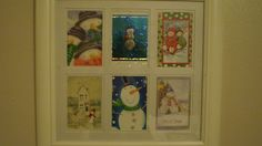 cards put into a frame for my January decorating theme of SNOWMEN