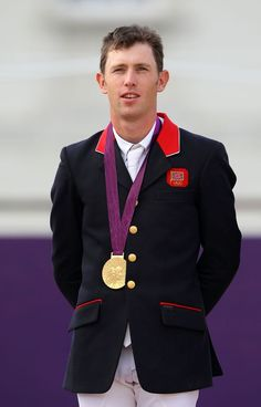 Gold medalist Scott Brash of Great Britain poses on the podium during the medal ceremony for the Team Jumping on Day 10 of the London 2012 Olympic Games at Greenwich Park on August 6, 2012 in London, England.